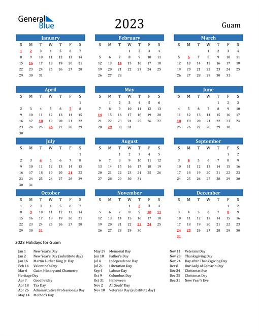 2023 Calendar with Guam Holidays