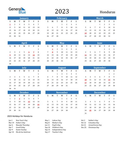 2023 Calendar with Honduras Holidays