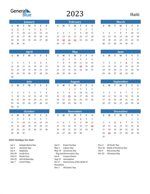 2023 Calendar with Haiti Holidays