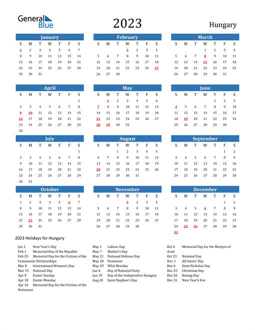 2023 Calendar with Hungary Holidays