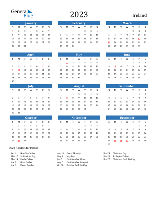 2023 Calendar with Ireland Holidays