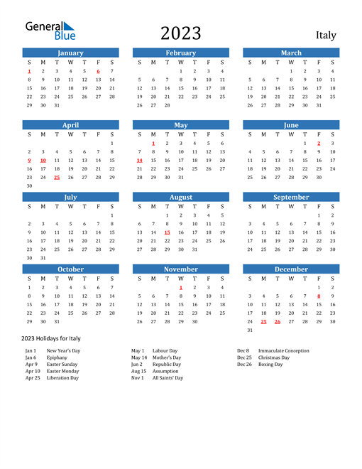 2023 Calendar with Italy Holidays