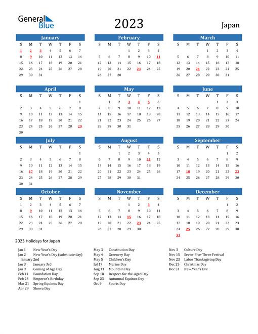 2023 Calendar with Japan Holidays