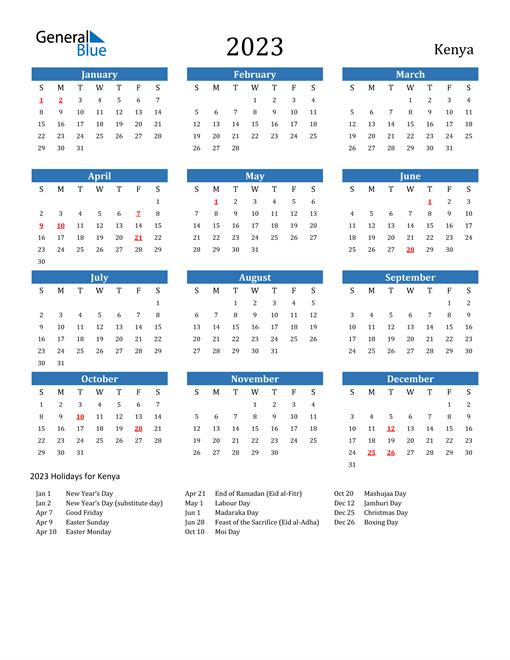 2023 Calendar with Kenya Holidays