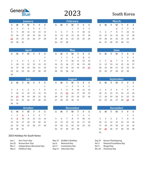 2023 Calendar with South Korea Holidays