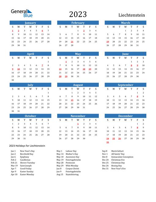 2023 Calendar with Liechtenstein Holidays