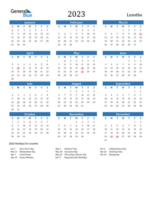 2023 Calendar with Lesotho Holidays