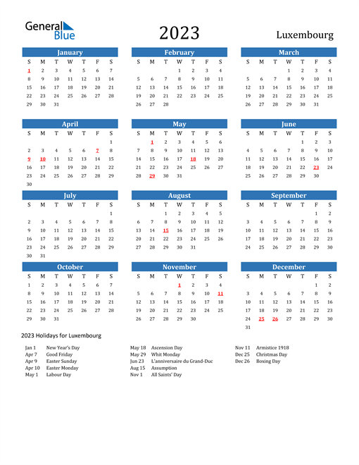 2023 Calendar with Luxembourg Holidays