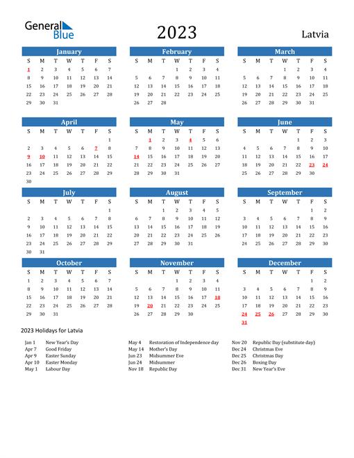 2023 Calendar with Latvia Holidays