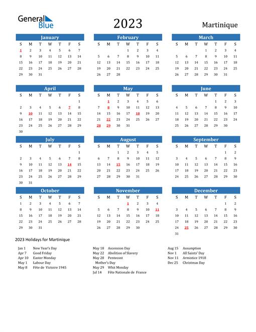 2023 Calendar with Martinique Holidays