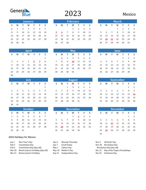 2023 Calendar with Mexico Holidays