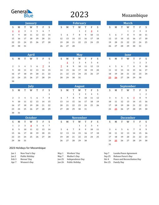 2023 Calendar with Mozambique Holidays
