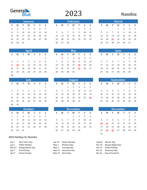 Namibia 2023 Calendar with Holidays