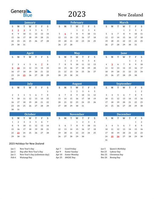 2023 Calendar with New Zealand Holidays