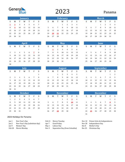 2023 Calendar with Panama Holidays