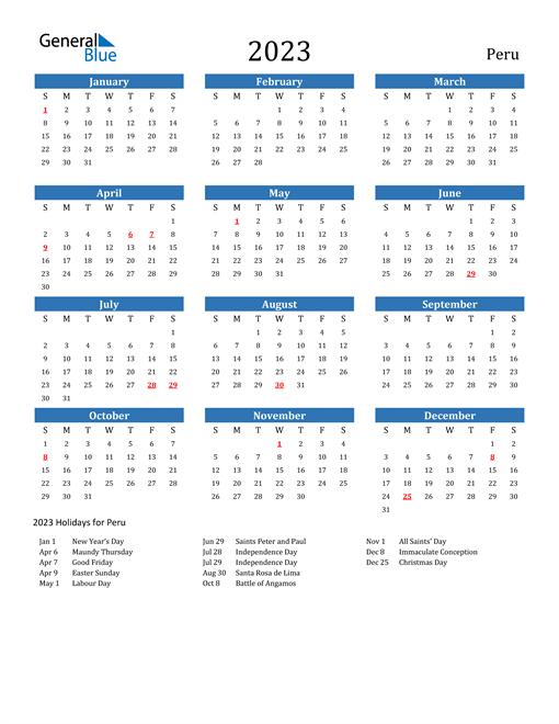 2023 Calendar with Peru Holidays