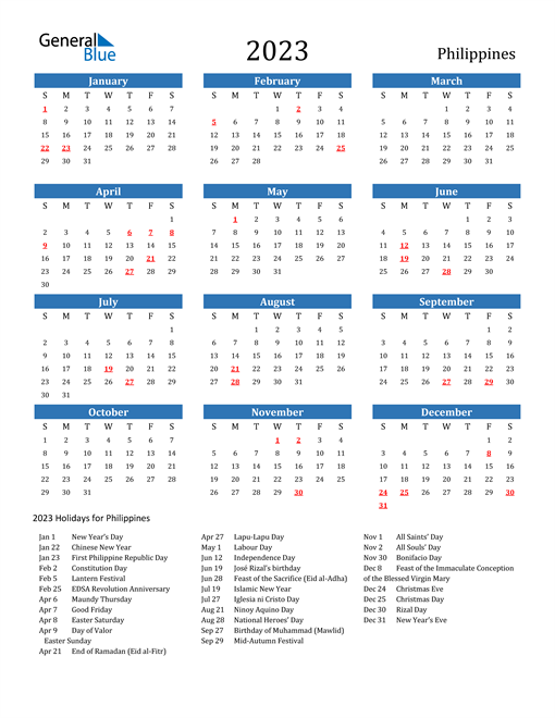 2023 Calendar with Philippines Holidays