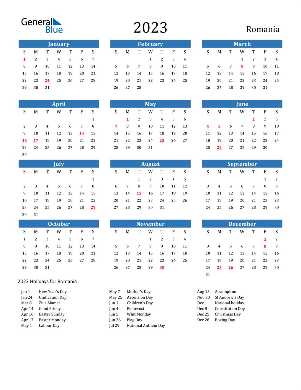2023 Romania Calendar With Holidays