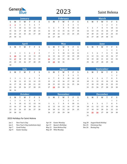 2023 Calendar with Saint Helena Holidays