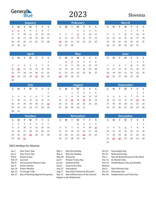 2023 Calendar with Slovenia Holidays