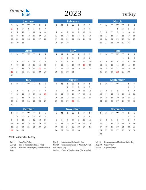2023 Calendar with Turkey Holidays