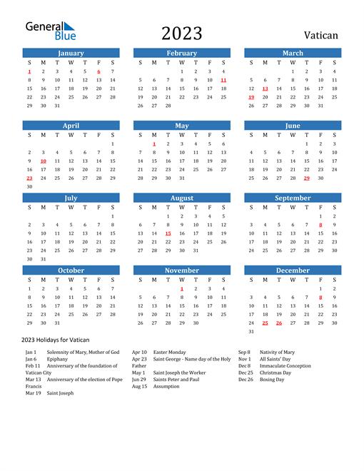 2023 Calendar with Vatican Holidays