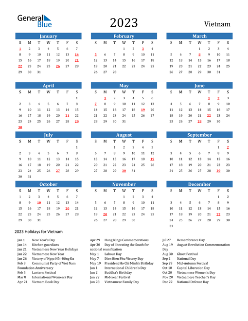 2023 Calendar with Vietnam Holidays