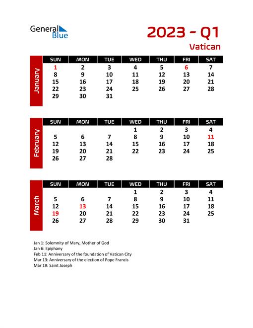 Q1 2023 Calendar with Holidays