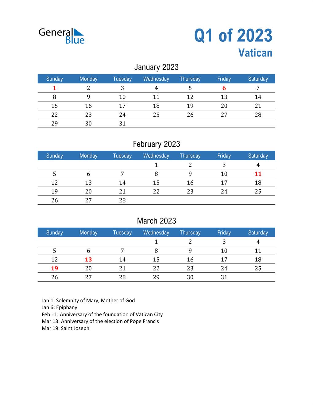 Vatican 2023 Quarterly Calendar