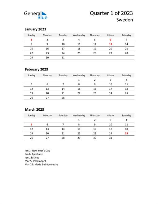 2023 Three-Month Calendar for Sweden