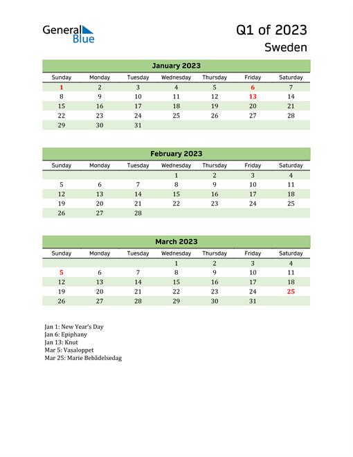 Quarterly Calendar 2023 with Sweden Holidays