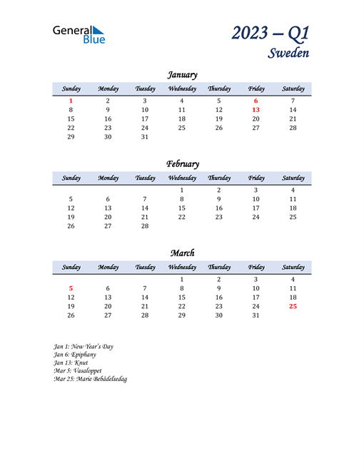 January, February, and March Calendar for Sweden