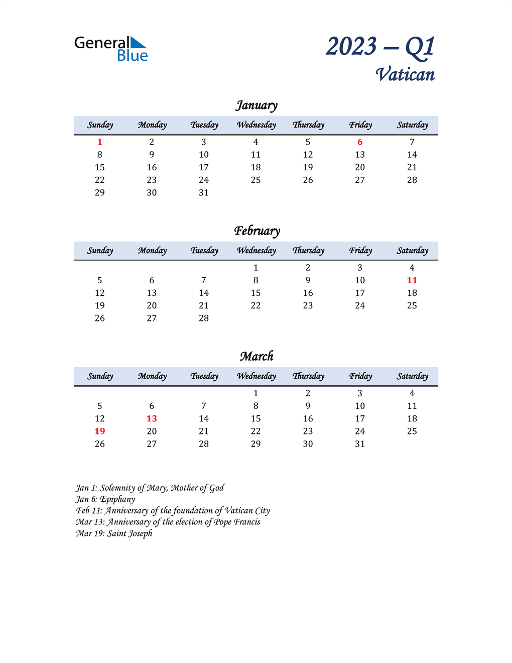 January, February, and March Calendar for Vatican