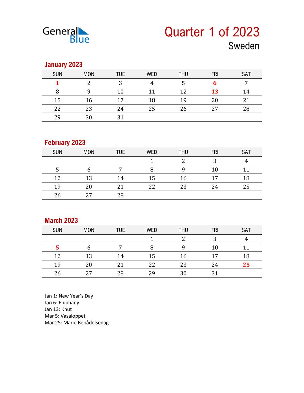 Printable Three Month Calendar for Sweden