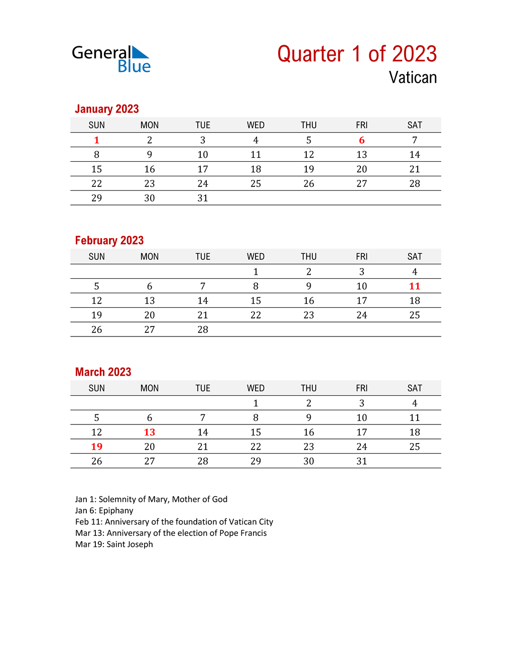Printable Three Month Calendar for Vatican