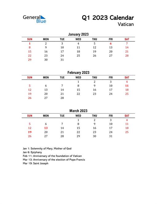 2023 Q1 Calendar with Holidays List