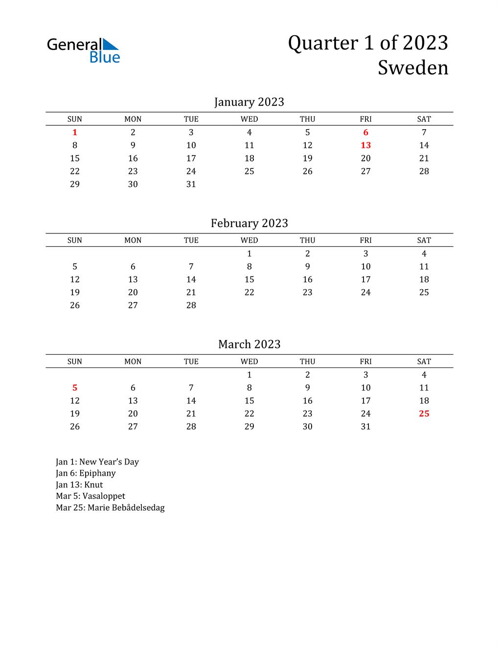 2023 Sweden Quarterly Calendar