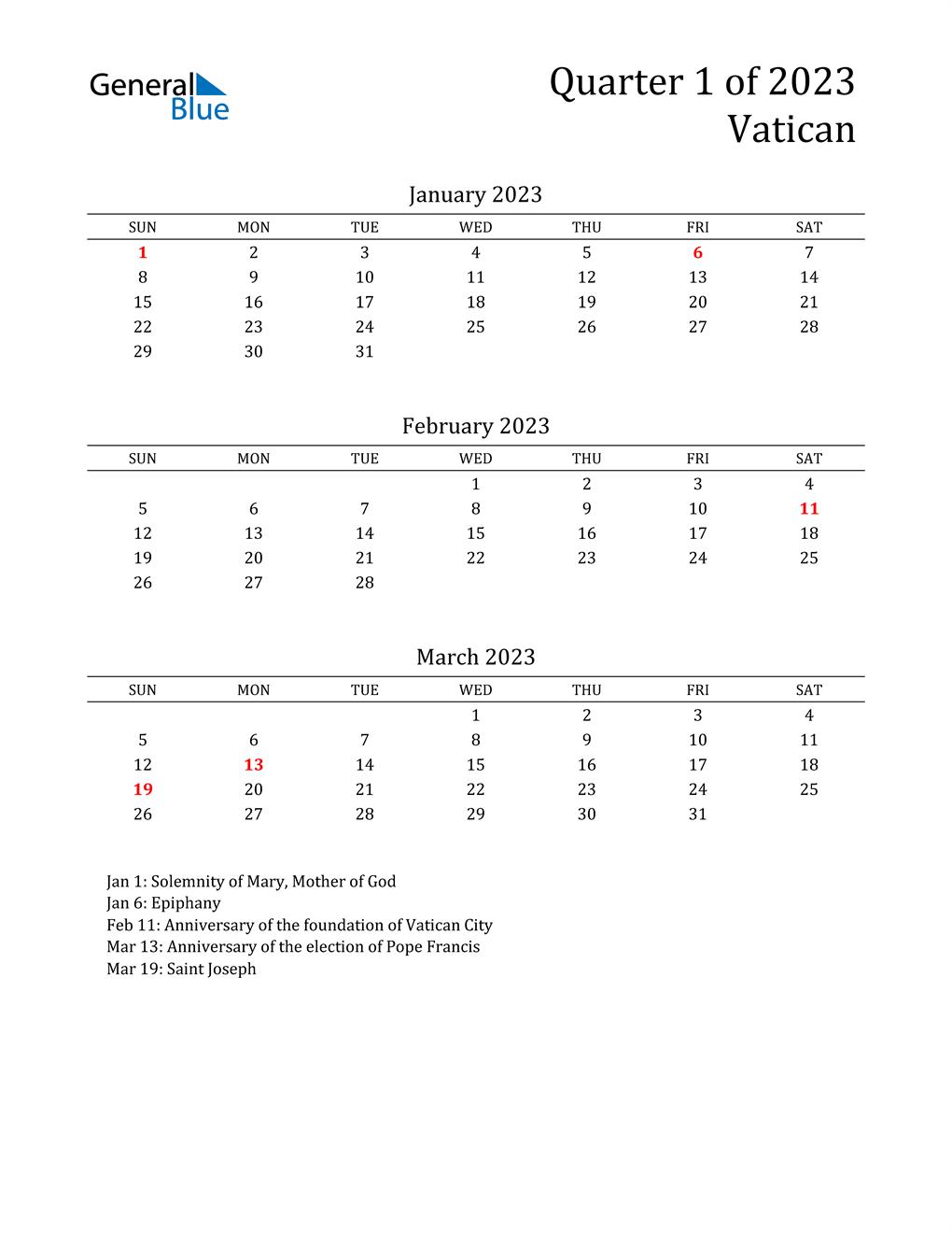 2023 Vatican Quarterly Calendar