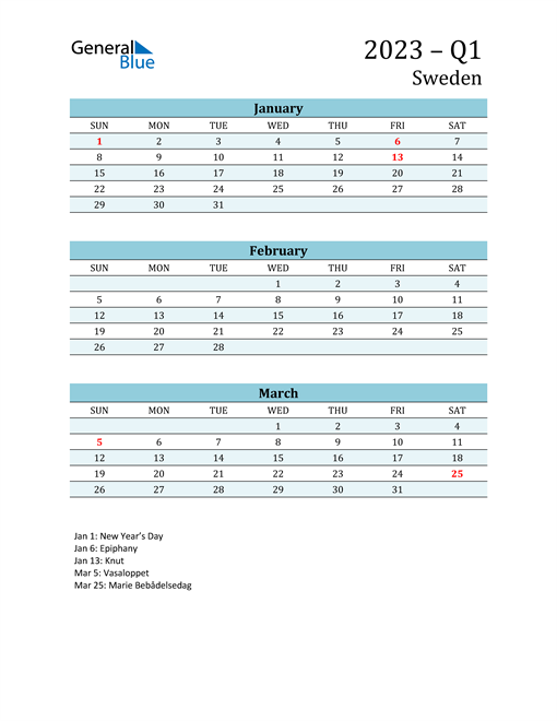Three-Month Planner for Q1 2023 with Holidays