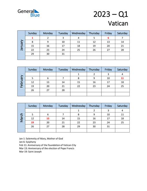 Free Q1 2023 Calendar for Vatican
