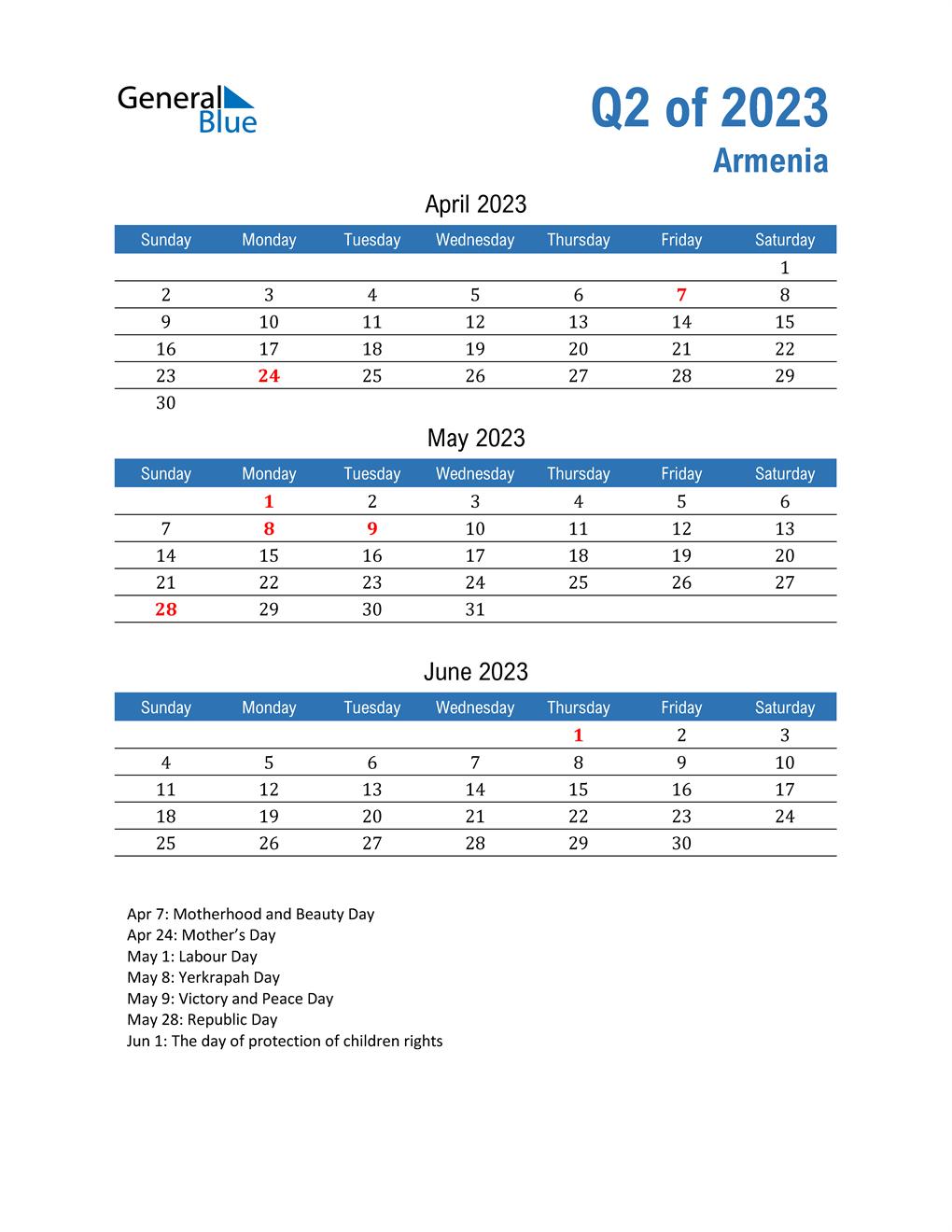 Armenia 2023 Quarterly Calendar
