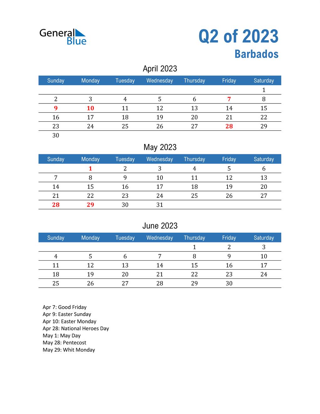 Barbados 2023 Quarterly Calendar