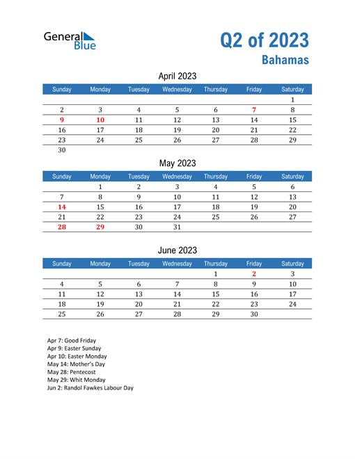 Bahamas 2023 Quarterly Calendar