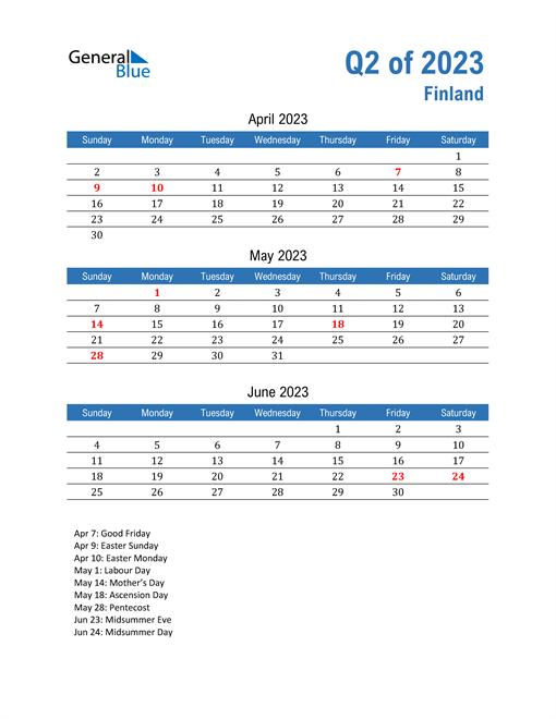 Finland 2023 Quarterly Calendar