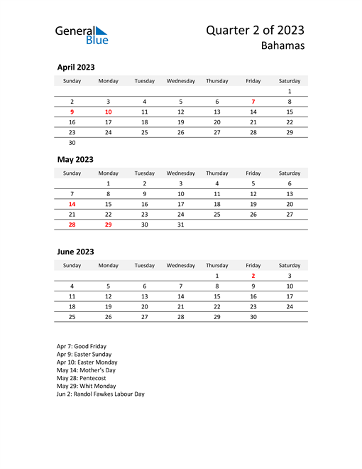 2023 Three-Month Calendar for Bahamas