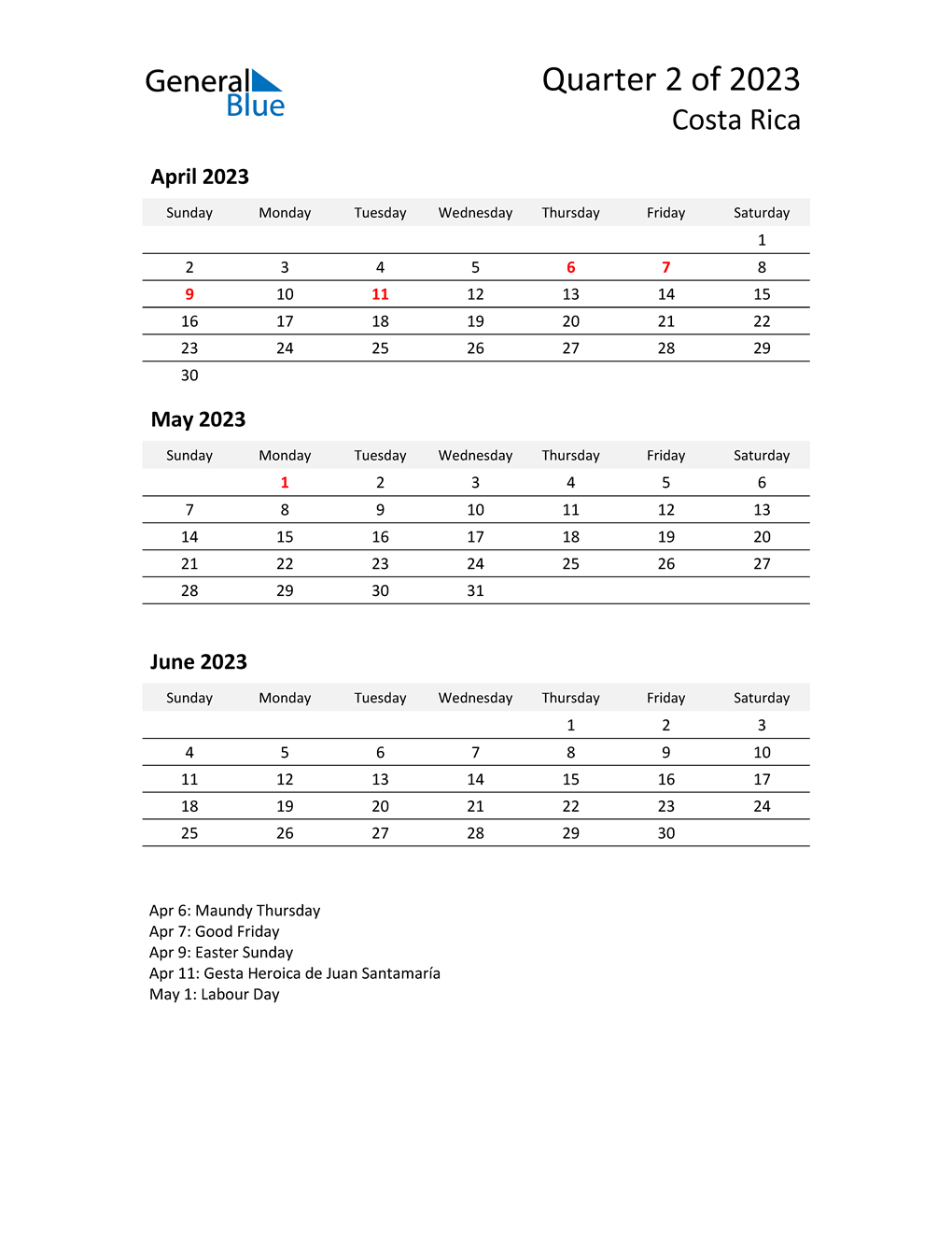 2023 Three-Month Calendar for Costa Rica
