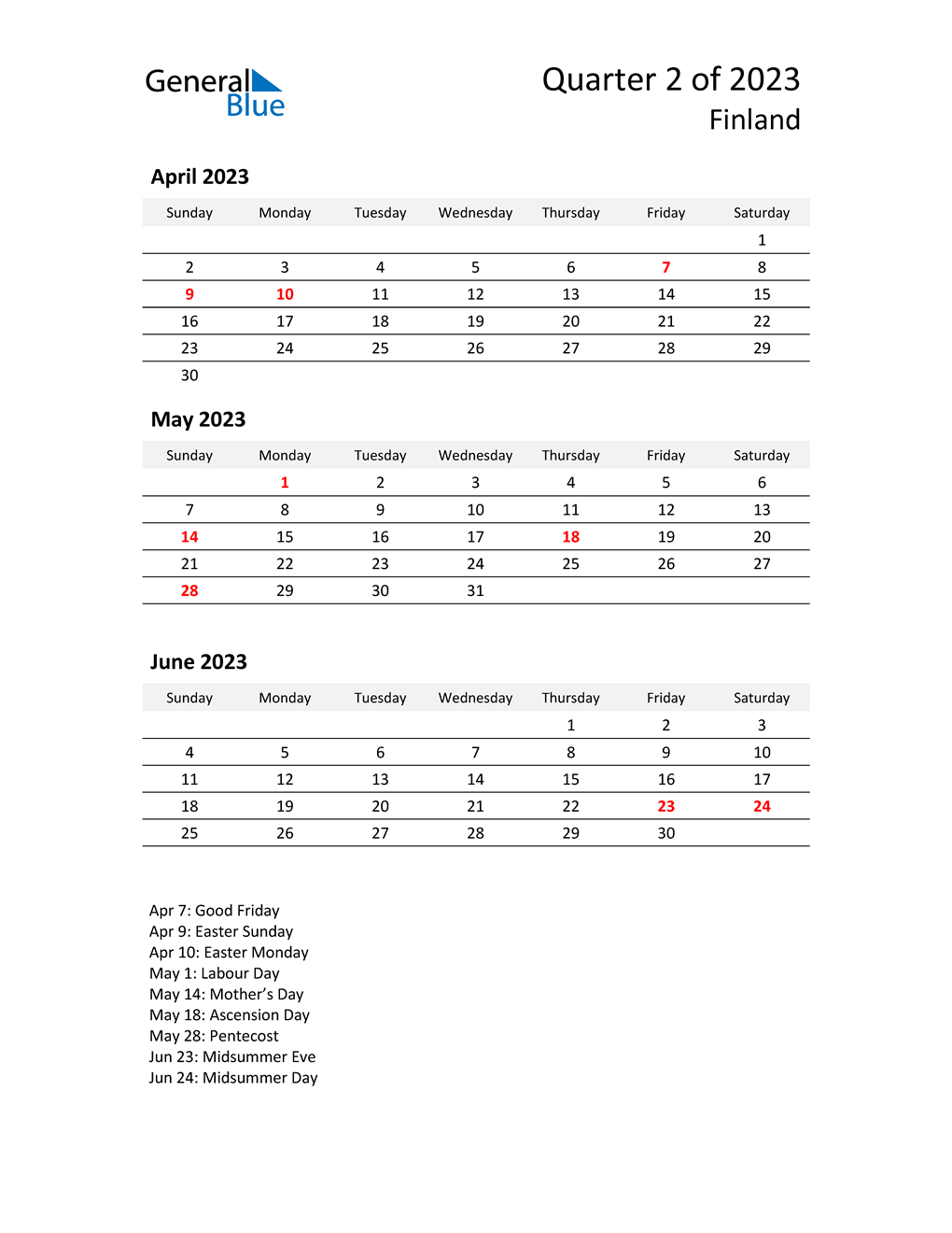 2023 Three-Month Calendar for Finland