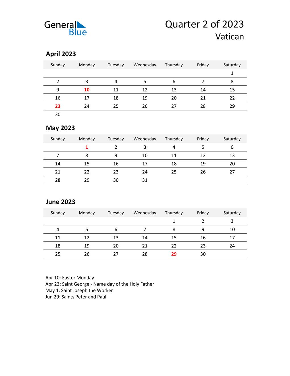 2023 Three-Month Calendar for Vatican