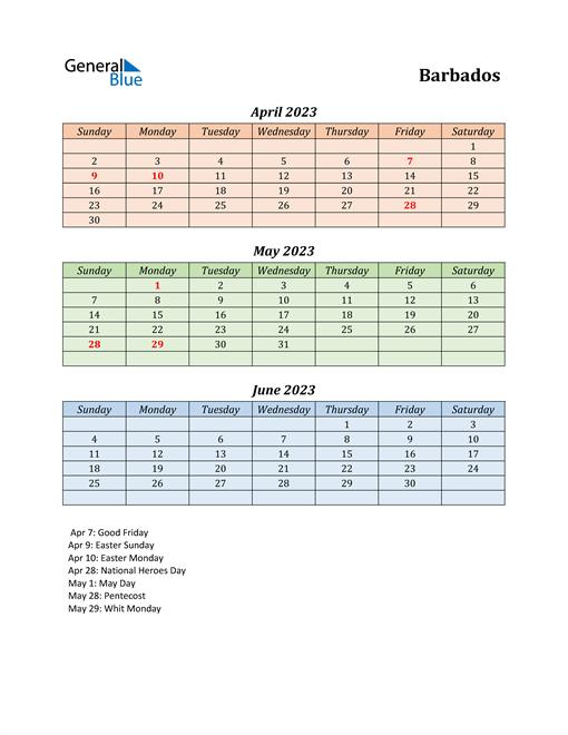 Q2 2023 Holiday Calendar - Barbados