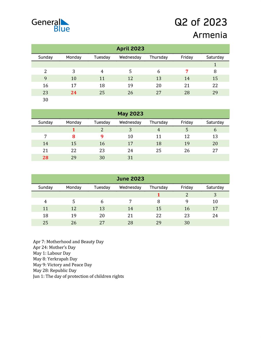 Quarterly Calendar 2023 with Armenia Holidays